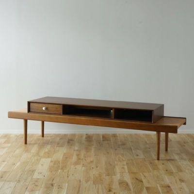 168cm テレビボード(テレビ台)Aセット ウッドレッグ [BAS4SW] ブラウン