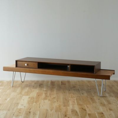168cm テレビボード(テレビ台)Aセット ヘアピンレッグ [BAS4SH] ブラウン