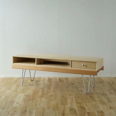 126cm テレビボード(テレビ台)Aセット ヘアピンレッグ [BAS3SH] ナチュラル